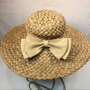 Wide brim straw hat 6 7/8 small tie double bow hat